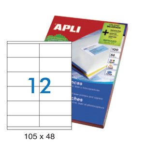 APLI ETIQUETAS APLI A4 105X48 100H 01289 MAK001269