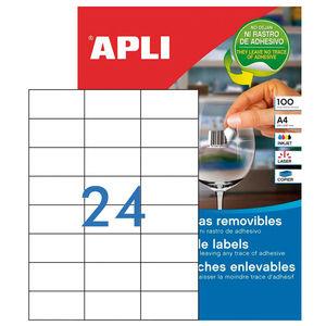 APLI ETIQUETAS APLI A4 64,6X33,8 REMV.100H 03056 MAK002073