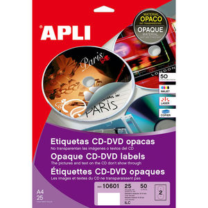 APLI ETIQUETAS APLI CD-DVD 117MM OPAC 50ET 10601 MAK002079