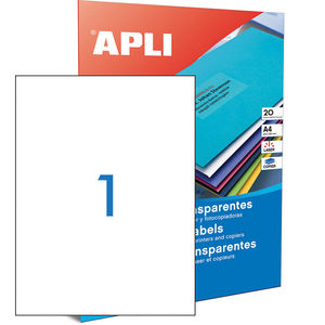APLI ETIQUETAS APLI A4 210X297 TRANSP.20H 01225 MAK002083