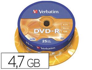 DVD-R VERBATIM CAPACIDAD 4.7GB VELOCIDAD 16X 120 MIN TARRINA