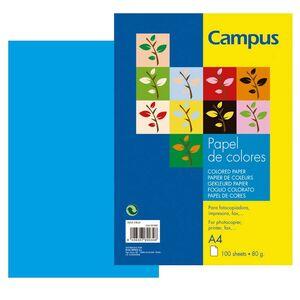 PAPEL CAMPUS A4 80GR 100H AZUL TURQUESA 002885