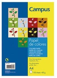 PAPEL CAMPUS A4 80GR 100H AMARILLO LIMON 002886