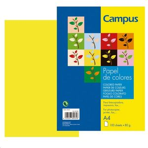 PAPEL CAMPUS A4 80GR 100H AMARILLO NEON 002890