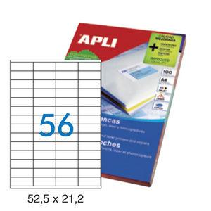 APLI ETIQUETAS APLI A4 52,5X21,2 100H 01284 MAK028998