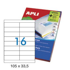APLI ETIQUETAS APLI A4 105X33,5+28,75 100H 12330 MAK029000