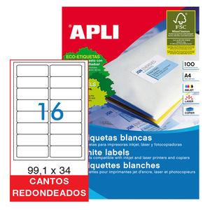 APLI ETIQUETAS APLI A4 99X34 C/ROMO 100H 2418 MAK029812
