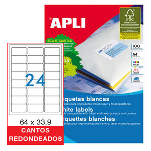 APLI ETIQUETAS APLI A4 64X33,9 C/ROMO 100H 2409 MAK029814