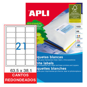 APLI ETIQUETAS APLI A4 63,5X38 C/ROMO 100H 02414 MAK029817