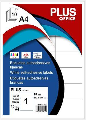 ETIQUETAS PLUS A4 210X297 10 HOJAS 10 ETIQUETAS FOLIO 035845