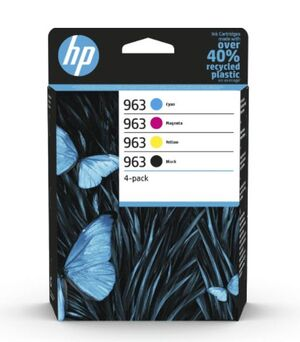 HP CART. 963 PACK 6ZC70AE HEWLETT PACKARD HP OFFICEJET PRO 9010, 9012, 9014, 9015, 9016, 9018, 9019, 9020, 9022, 9023, 9025, 9026 COLOR CYAN-MAG-AMA-NEGRO 963XL HP3YP35AE