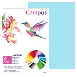 CAMPUS CARTULINA CAMPUS A4 180G AZ.CELE/100U 601410 MAK220144