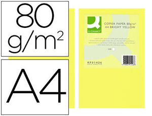 PAPEL COLOR Q-CONNECT DIN A4 80GR AMARILLO INTENSO PAQUETE D