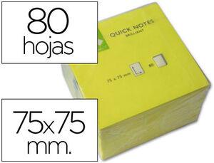 BLOC DE NOTAS ADHESIVAS QUITA Y PON Q-CONNECT 76X76 MM AMARILLO NEON 80 HOJAS