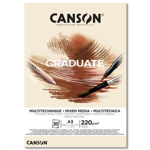 CANSON BLOC CANGRAD GRADUATE MIX MEDIA NATURAL 30H A3 220G 625512 400110369