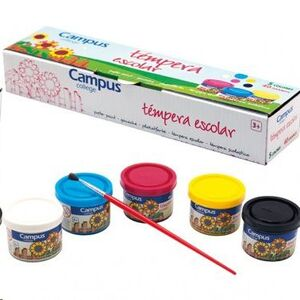 TEMPERA CAMPUS 40ML 5 COLORES PRIMARIOS CYAN MAGENTA AMARILLO BLANCO Y NEGRO 630787