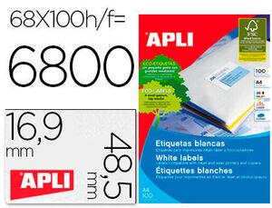 APLI ETIQUETAS APLI A4 48,5X16,9 100H 1282 MAK001266