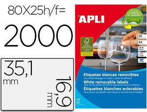 ETIQUETAS APLI A4 35.6X16.9 REMO/25H 002102