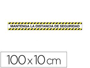 CINTA DE SEÑALIZACION ADHESIVA APLI MANTENGA LA DISTANCIA 100 X 10 CM AP18595