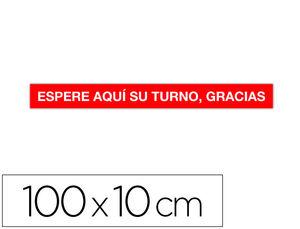 CINTA DE SEÑALIZACION ADHESIVA APLI ESPERE SU TURNO 100 X 10 CM AP18596