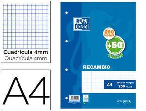 RECAMBIO OXFORD DIN A4 200 + 50 HOJAS GRATIS CUADRO 4 MM CON CS154780