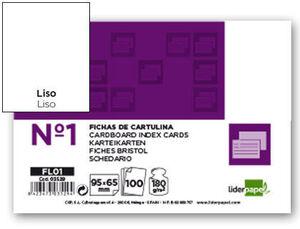 FICHA LIDERPAPEL LISA Nº1 65X95MM PAQUETE DE 100 180G
