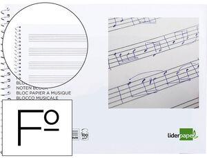 BLOC MUSICA LIDERPAPEL PENTAGRAMA 3MM FOLIO APAISADO 20 HOJA