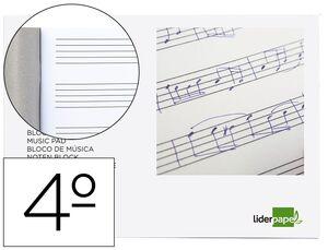 LIDERPAPEL BLOCK DE MUSICA CUARTO GRAPADO 20H 100 GR PENTAGRAMA 5 MM CS58609