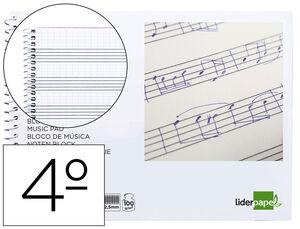 BLOC MUSICA LIDERPAPEL COMBI PENTAGRAMA CUADRICULADO 2,5MM CUARTO 20 HOJAS 100G/M2