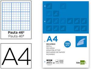 RECAMBIO LIDERPAPEL A4 100 HOJAS 100 G/M2 RAYADO Nº 46 4 TAL