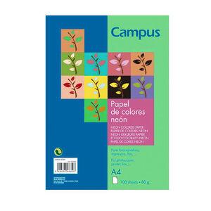 PAPEL CAMPUS A4 80GR 100H VERDE NEON 002889