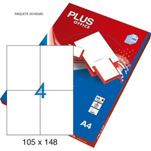 ETIQUETAS PLUS A4 105X74MM 10 HOJAS 80 ETIQUETAS 035848