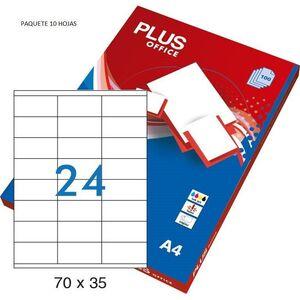ETIQUETA PLUS A4 70X37 10HOJAS 240 ETIQUETAS  035859