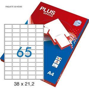 ETIQUETA PLUS A4 48,5X16,9MM 10 HOJAS 640 ETIQUETAS 035864