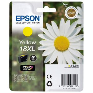 EPSON CARTUCHO INYECCION TINTA AMARILLO 18XL CLARIA HOME PACK 1 BLISTER SIN ALARMA EXPRESSION HOME XP-/102/205/305/405 C13T18144010 18XL
