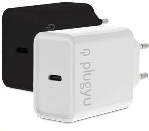 PLUGYU CARGADOR PARED USB TYPE-C NEGRO CARGA SUPER RAPIDA