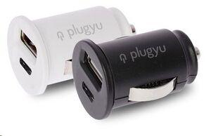 PLUGYU CARGADOR COCHE 2 PUERTOS USB + TYPE C NEGRO