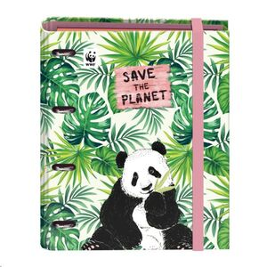 DOHE CARPEBLOCK CARPESANO 4 ANILAS A4 WWF SAVE THE PLANET PANDA CON GOMA ROSA CIERRE