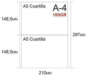 PAPEL 500H A-4 PERFORADO EN 2 PARTES 148,5X210 PRECORTE EN 2 CUARTILLAS A5 PARA ALBARANES CON COPIA EN LA MISMA HOJA 100GR