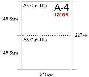 PAPEL 500H A-4 PERFORADO EN 2 PARTES 148,5X210 PRECORTE EN 2 CUARTILLAS A5 PARA ALBARANES CON COPIA EN LA MISMA HOJA 120GR