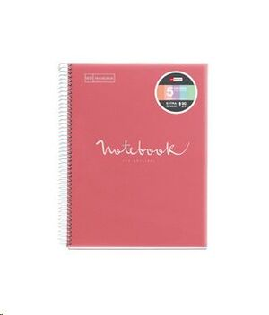 MIQUEL RIUS NOTEBOOK A-5 TAPA PLASTICO 120H 90GR EMOTION ROSA MR46105