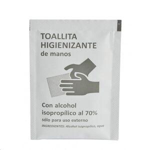 TOALLITA HIGIENIZANTE DE MANOS CON UN 70% DE ALCOHOL